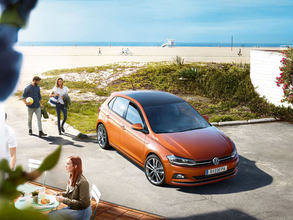 vw volkswagen polo orange exterior