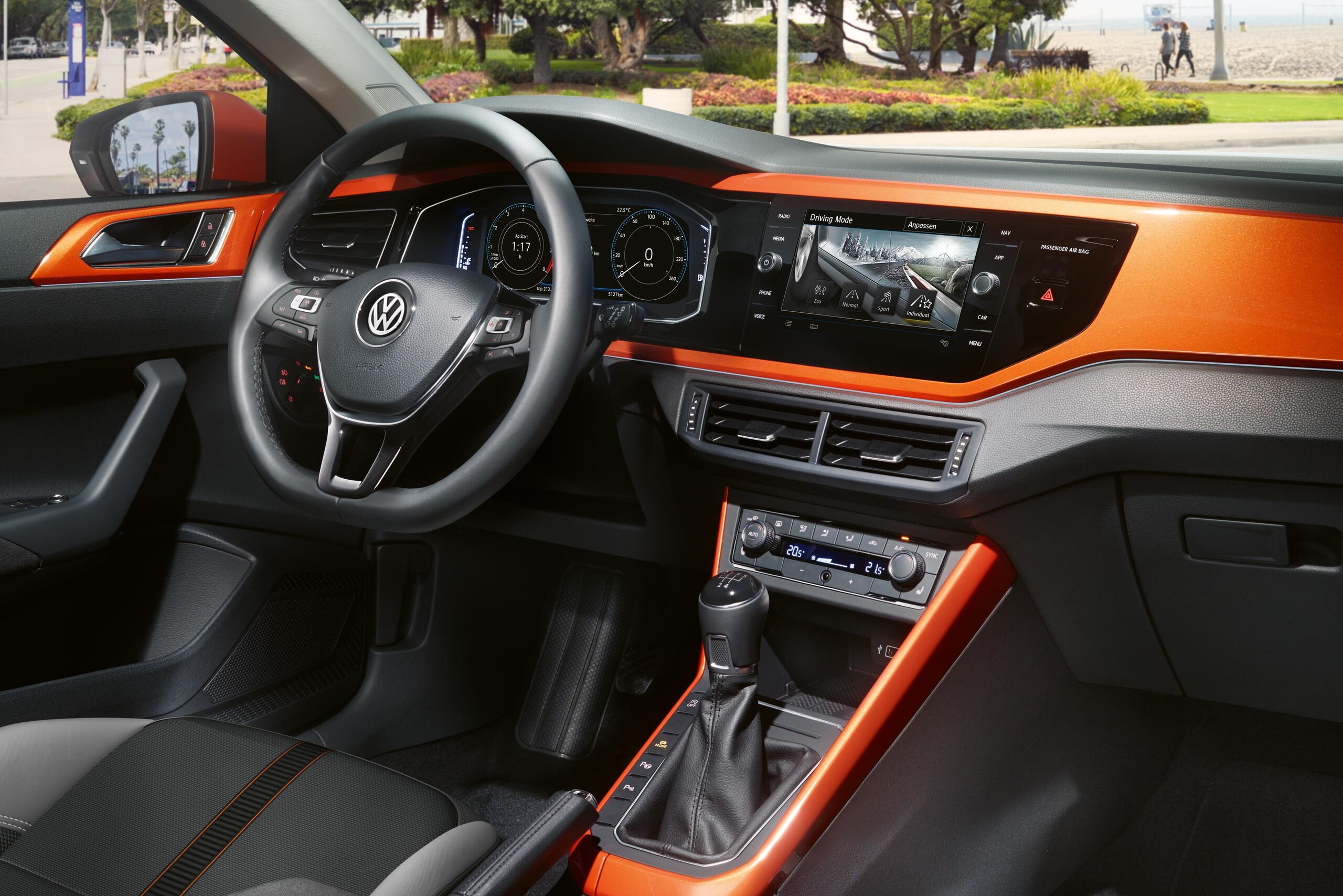 vw volkswagen polo orange interior