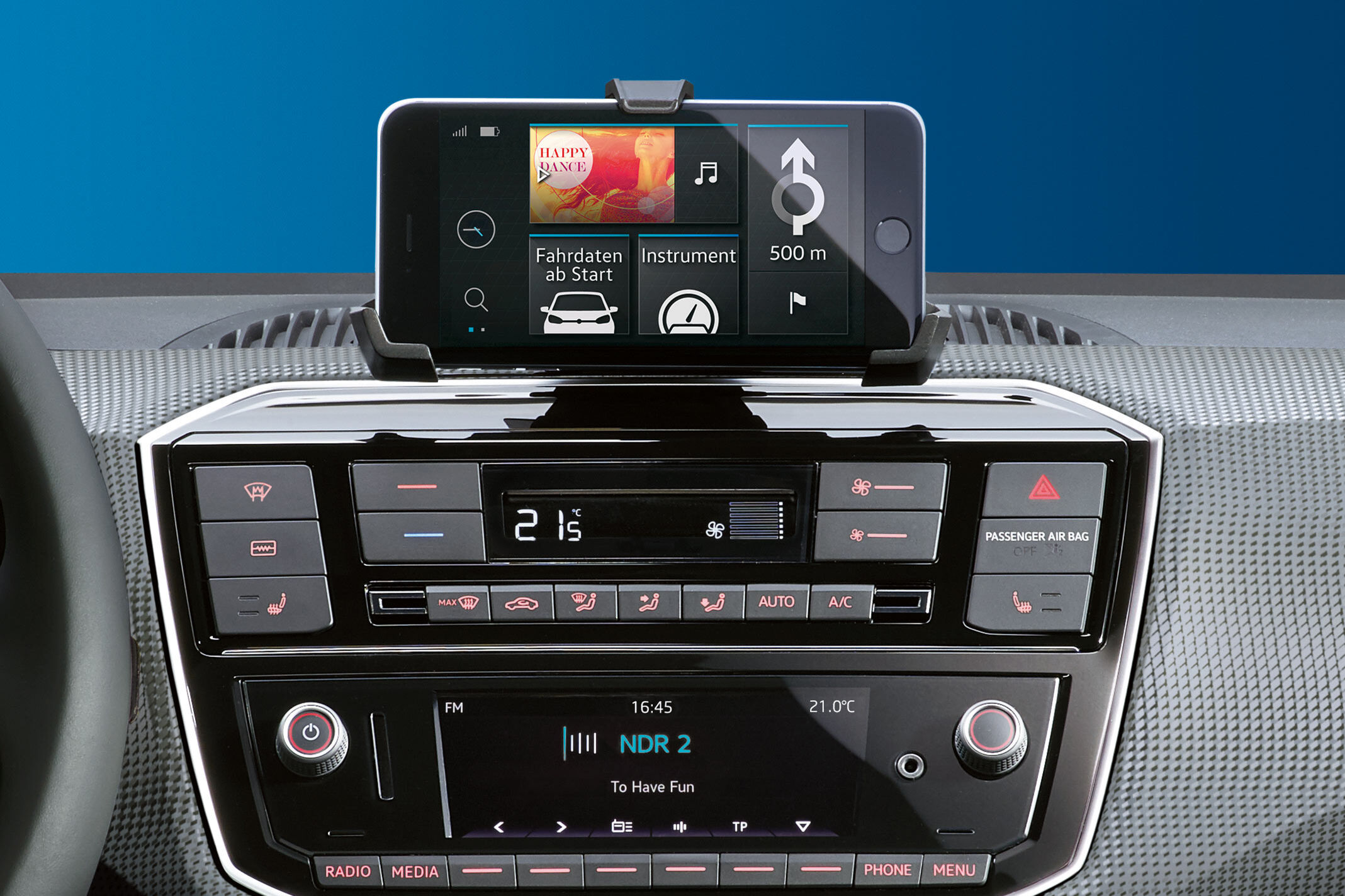 vw e-up! automobil electric display radio