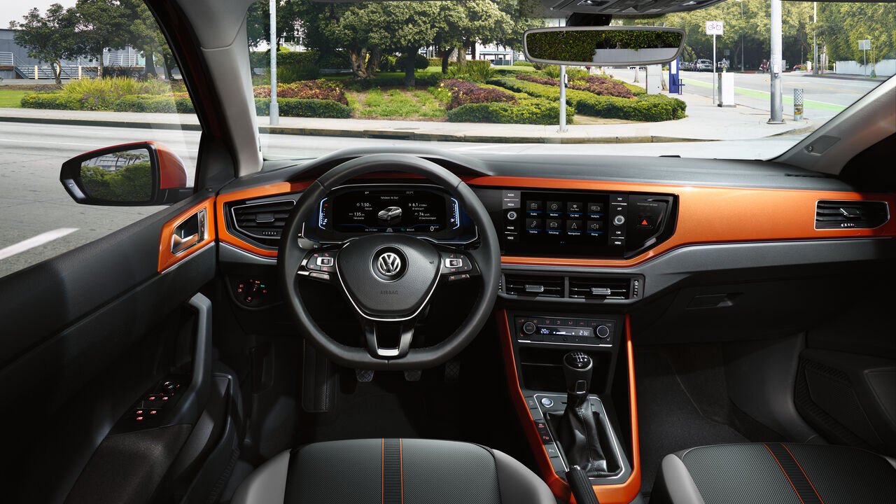 volkswagen vw polo orange interior decor